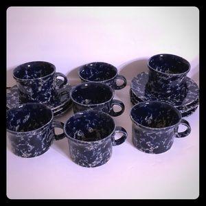 8 Bennington Blue Agate Mugs/Cup Saucer 1626d 1627
